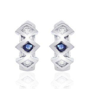 0.15 Carat Diamond & Sapphire Huggie Earrings